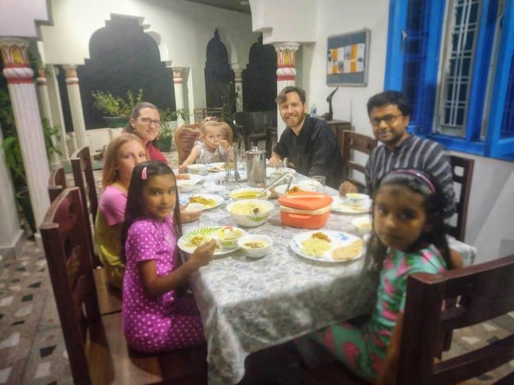 Guests are having dinner at Om Homestay Tapovan Rishikesh