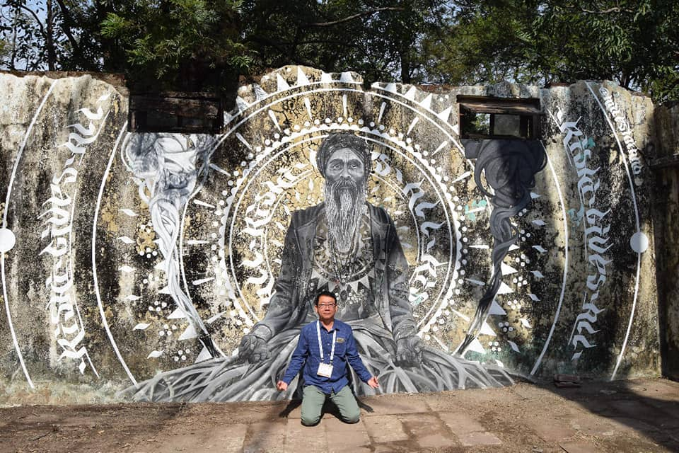 Murals on the wall of the Beatles Ashram