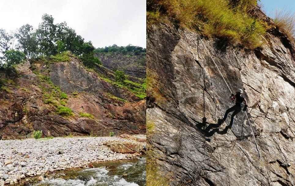 Phool Chatti Rock Patch for High Power Rappelling and at the bottom, Hemal River for Cooling Off